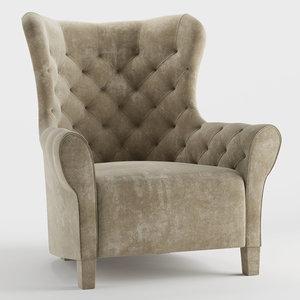 3D malerba armchair redcarpet model