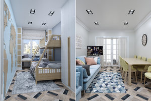 3D hostel apartment interior rooms model
