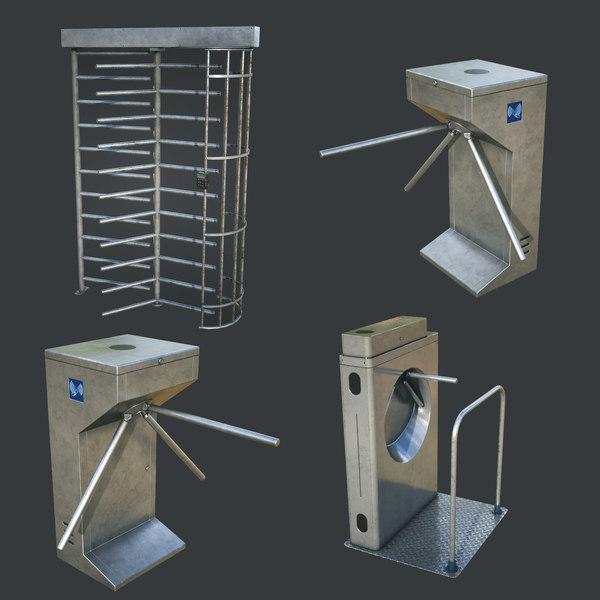 3D inteligent security gates pack model