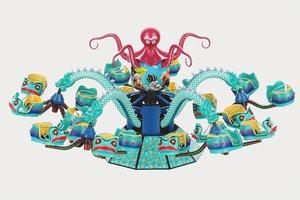 3D carousel octopus