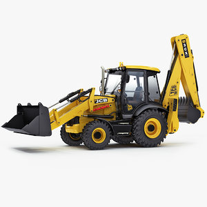 3D model rigged backhoe loader 3cx