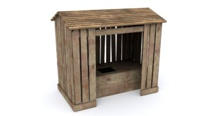 3D model old wooden outhouse