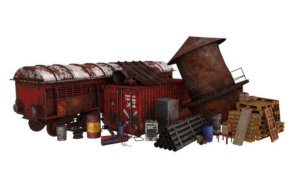 3D scrap rusty items