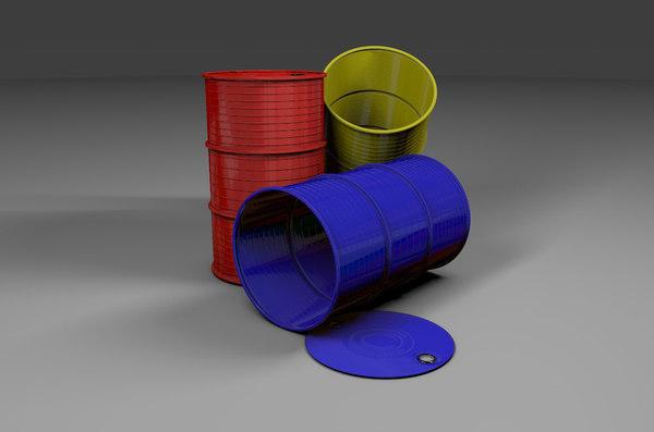metal barrel barriles 3D model