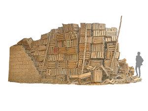 3D african slums wooden boxes model