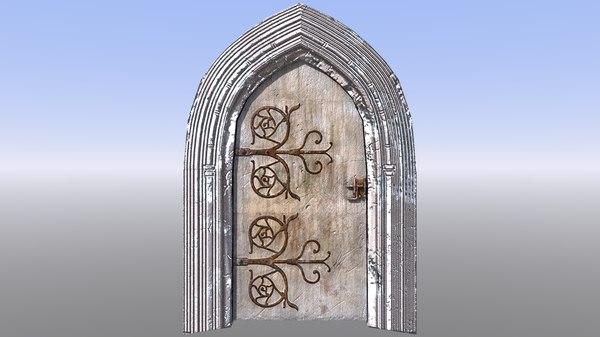 3D medieval door frame model