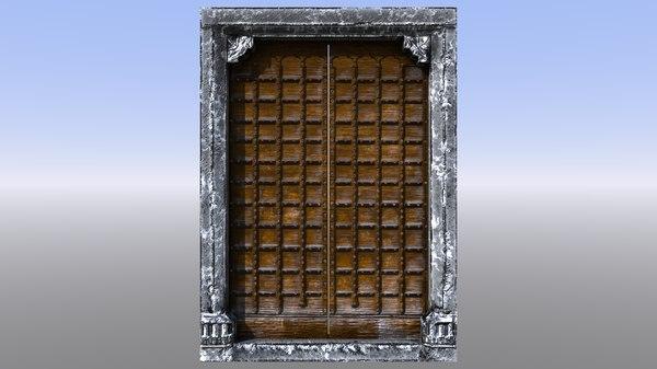 3D model medieval castle door