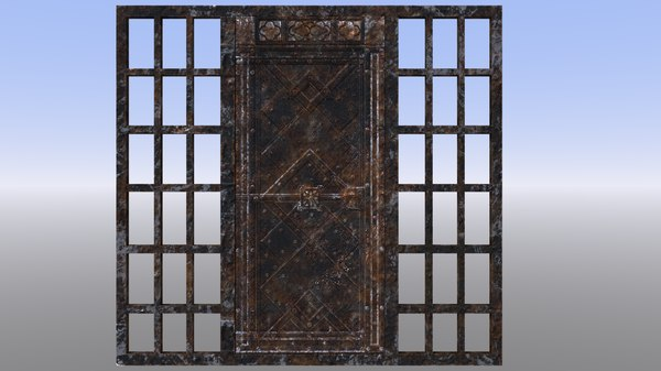3D dungeon gate rusty