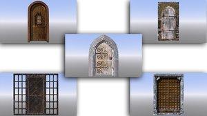 3D dungeon doors medieval model