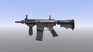 3D m4 assault rifle low-poly