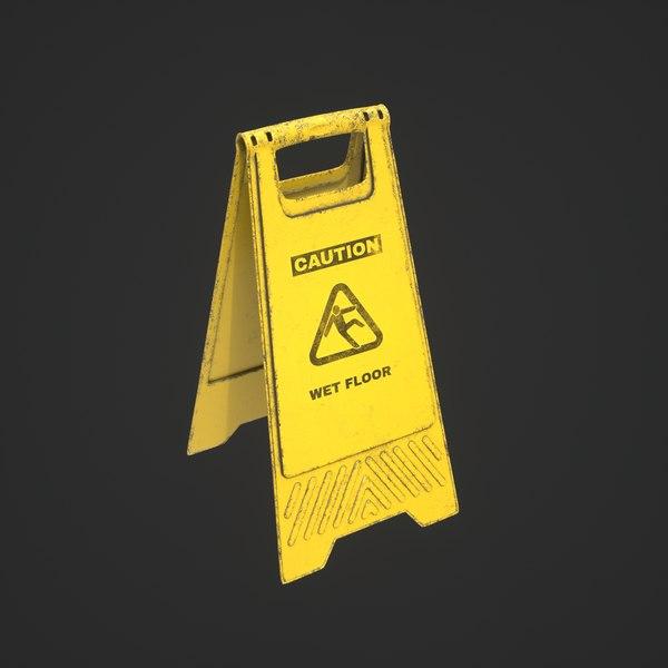 3D wet floor sign model