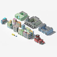 Collection of low poly buildings vol.1