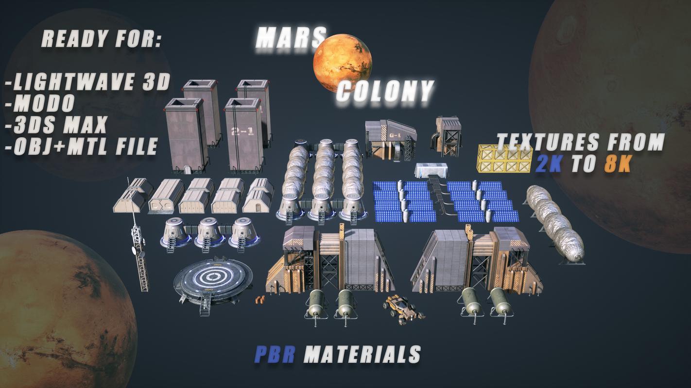 mars colony kitbash 3D model
