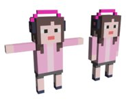 Lowpoly Headset Music Girl