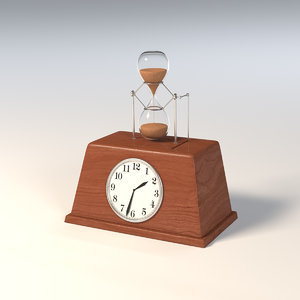 mechanical clock hourglass 3D model