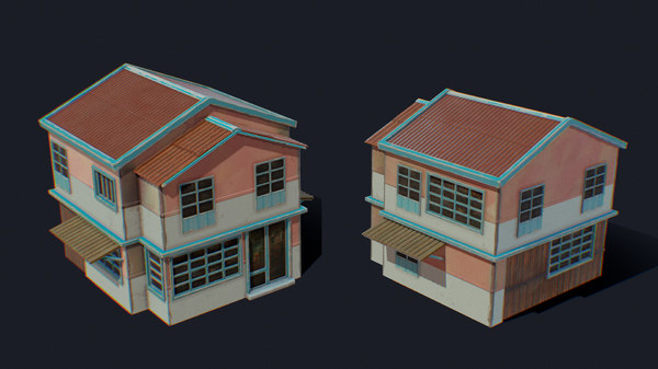 3D model house color blue