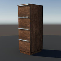tall wooden office cabinet 3D model