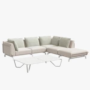 3D tortuga sectional sofa white model