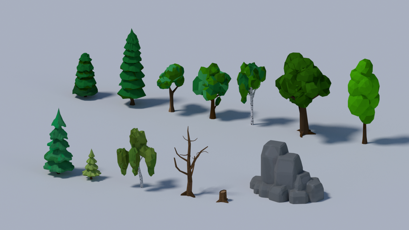 3D low-poly trees