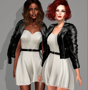 3D leather jacket dress