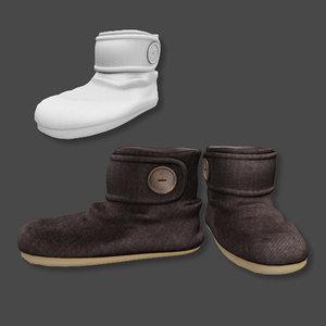 3d winter slippers model