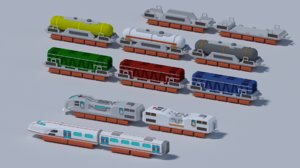 3D model maglev train low-poly