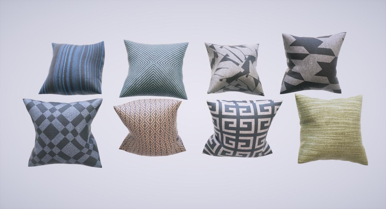 3D pillows pbr materials model
