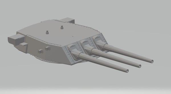 3D uss north carolina wisconsin model