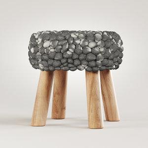 3D wool grey felt stool