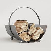 fireside log holder burnished 3D