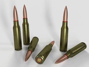 cartridge 5 45x39 ak-74 3D