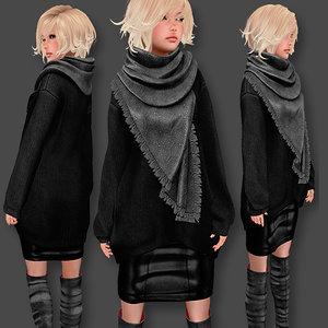 3D sweater scarf set