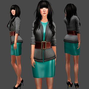 3D sweater dress set
