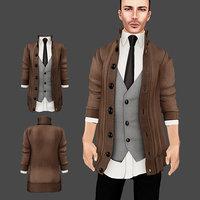 3D male sweater vest model