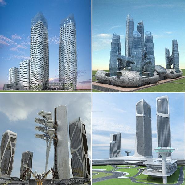 futuristic skyscrapers 7-10 3D model