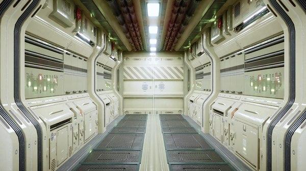 modular sci fi corridor 3D model