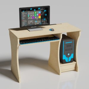desktop computer desk 3D model