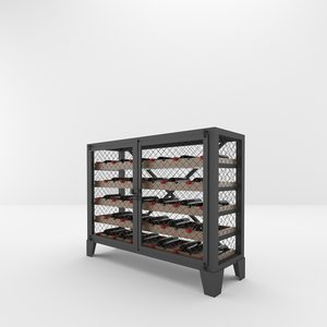 industrial wine rack 3D model