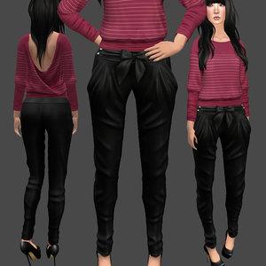 3D bow pants black