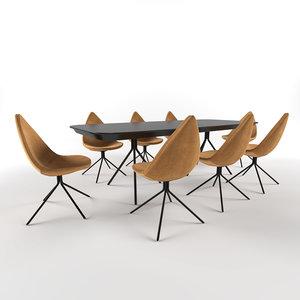 attawa table chair boconcept 3D model