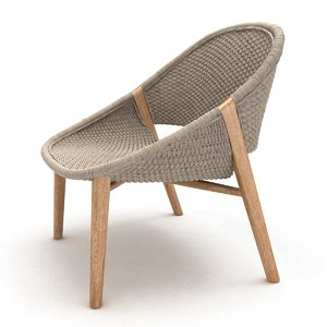 3D model elio armchair handwoven woven