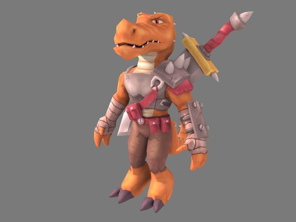 3D character lizard warrior model