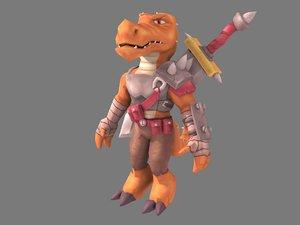 3D character lizard warrior model