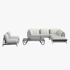 3D model tortuga set sofa chairs