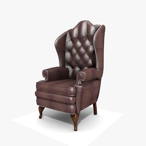 leather winged chair 3D model