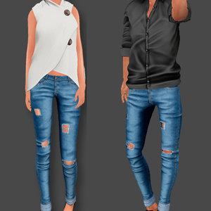 3D female male jeans model