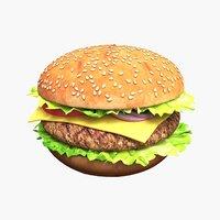 3D hamburger cutlet vegetables