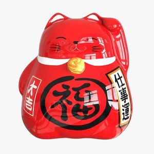 maneki neko moneybox red 3D model