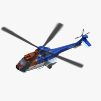 as332 super puma helicopter 3D model