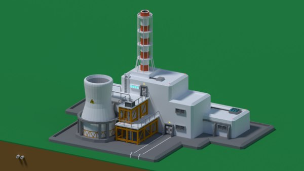 3D low-poly nuclear station